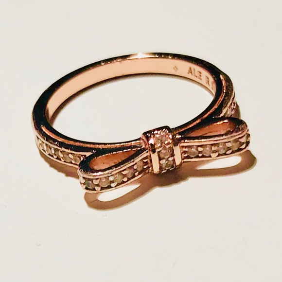 a6a09d4f6 ... reduced pandora rose gold bow ring in size 50 32a0e a3aae uk sparkling  ...